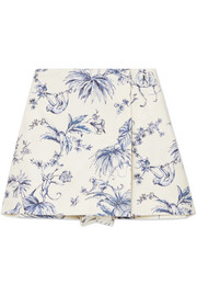 Wrap-effect printed cotton-canvas shorts