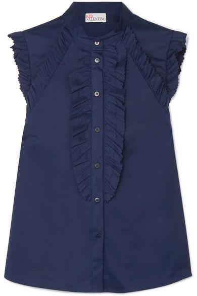 REDValentino Bluse aus Sateen aus einer Baumwollmischung mit Rüschen