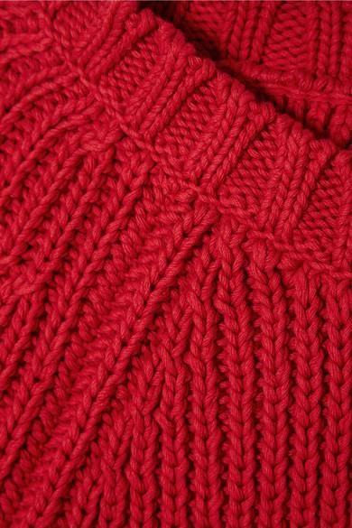 REDValentino Verkürzter Pullover aus gerippter Baumwolle mit Bindedetail hinten