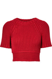 Cropped tie-back ribbed cotton sweater