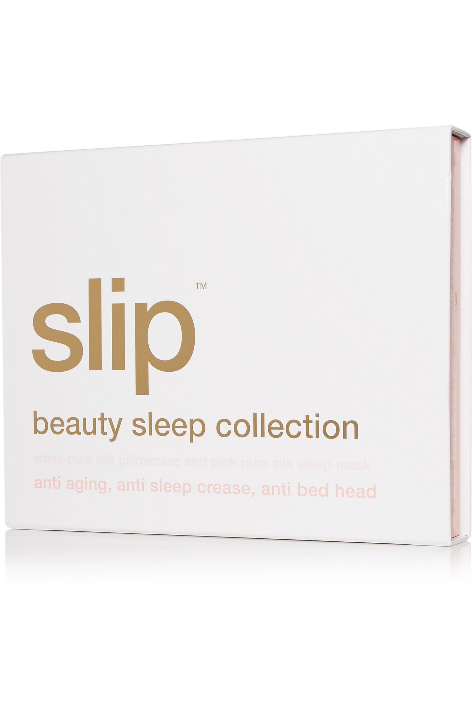 Slip Embroidered silk queen pillowcase and eye mask