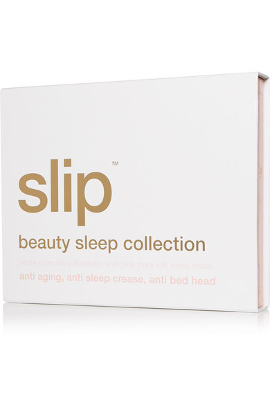 Slip | Embroidered silk queen pillowcase and eye mask | NET