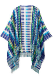 Fringed crochet-knit wrap