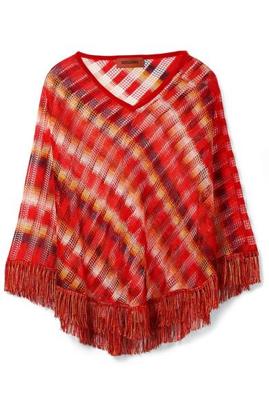 Missoni - Fringed Crochet-knit Poncho - Orange