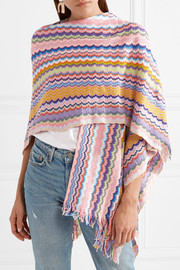 Missoni Fringed crochet-knit cotton wrap