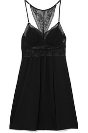 Adora lace and stretch-modal jersey chemise