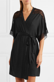 Adora lace-trimmed stretch-modal jersey robe