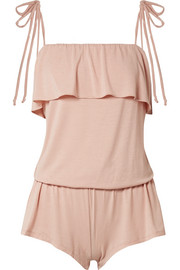 Ivy ruffled stretch-modal jersey playsuit