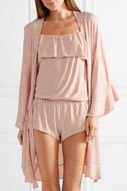 Ivy ruffled stretch-modal jersey robe