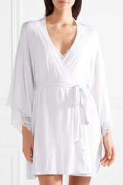 Matilda The Mademoiselle lace-trimmed stretch-modal jersey robe