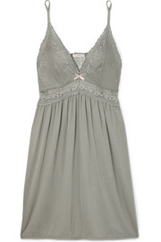 Colette The Mademoiselle lace and tulle-trimmed stretch-modal jersey chemise