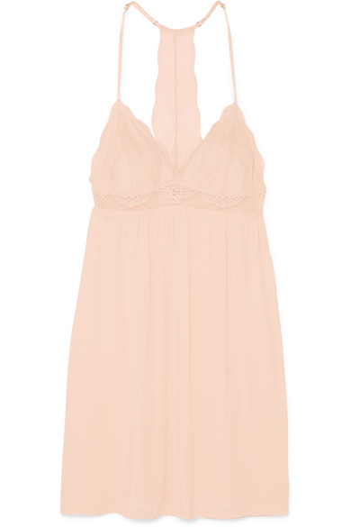 Esperanza Merry Me Stretch Modal Jersey And Lace Chemise by Eberjey