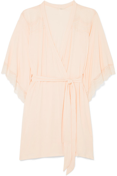 Esperanza Lace Trimmed Stretch Modal Jersey Robe by Eberjey