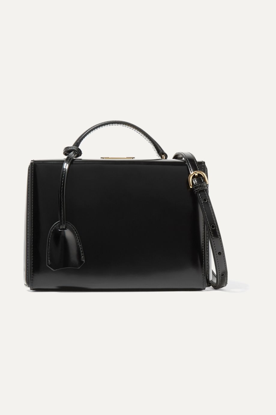Mark Cross Grace small glossed-leather shoulder bag