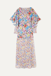 Flora printed cotton-voile and chiffon maxi dress