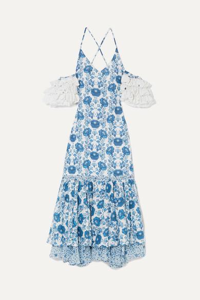 All Things Mochi Natalia Midikleid aus bedruckter Baumwolle mit Häkelbesätzen