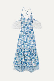 Natalia crochet-trimmed printed cotton midi dress