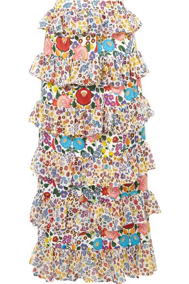All Things Mochi Petra gestufter Maxirock aus bedrucktem Baumwoll-Voile