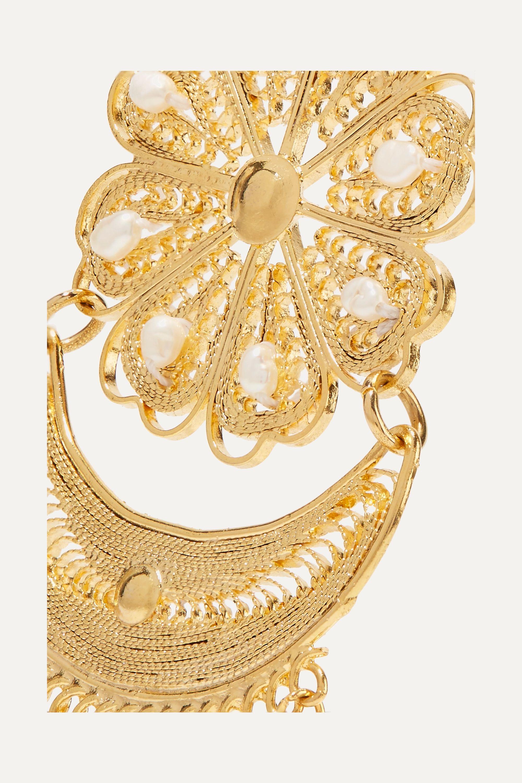 Mercedes Salazar Fiesta tasseled gold-plated pearl clip earrings