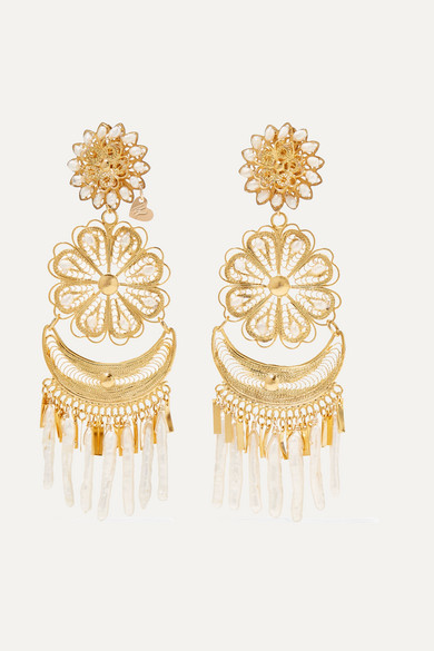 Hibiscus Tasseled Gold-Plated Crystal Earrings Mercedes Salazar QmUog5E
