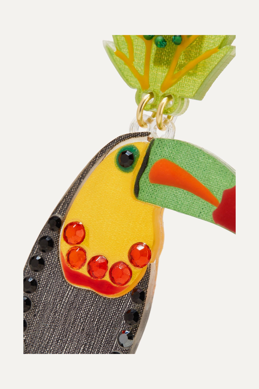 Mercedes Salazar Bird Ohrclips aus Harz mit vergoldeten Details, Troddeln und Kristallen