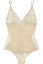 Mystère de Minuit metallic embroidered silk-blend tulle and satin bodysuit
