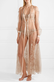 Mystère de Minuit satin-trimmed metallic embroidered tulle robe