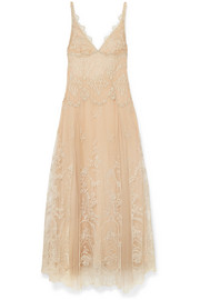 I.D. Sarrieri Mystère de Minuit metallic embroidered tulle nightdress
