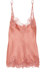 East Of Eden Chantilly lace-trimmed silk-blend satin camisole