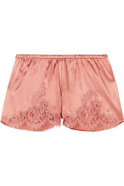 East Of Eden Chantilly lace-trimmed silk-blend satin shorts