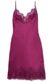 Colette Chantilly lace-trimmed silk-blend satin chemise