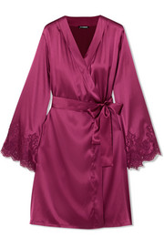 Chantilly lace-trimmed silk-blend satin robe