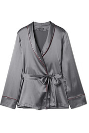 Chemise de pyjama en satin de soie stretch Kyoto Nights