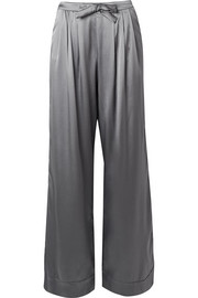 Kyoto Nights pleated stretch-silk satin pajama pants
