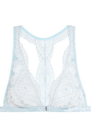 Célestine embroidered tulle and satin soft-cup triangle bra