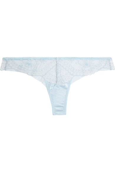I.D. SARRIERI CÉLESTINE EMBROIDERED TULLE AND SATIN THONG