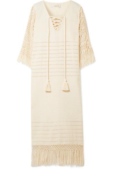 JALINE Heidi Pointelle-Knit Cotton And Macramé Coverup in Ecru