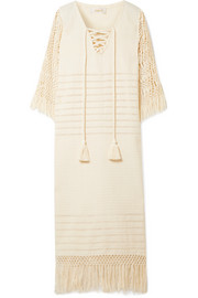 Jaline Heidi macramé and pointelle-cotton midi dress