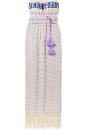 Jaline Irina macramé-trimmed cotton-jacquard maxi dress