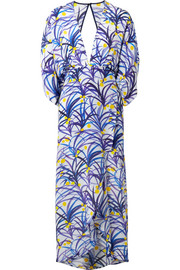 Kelly wrap-effect printed silk midi dress