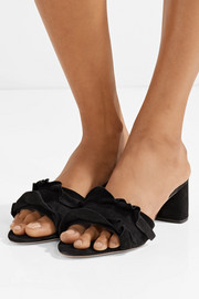 Vera ruffle-trimmed suede sandals