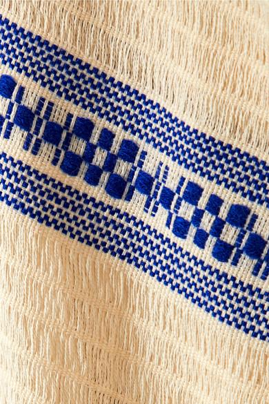 Jaline Maggie Poncho aus Baumwolle mit Makramee-Besätzen