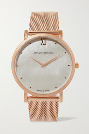 Lugano Bernadotte rose gold-plated mother-of-pearl watch