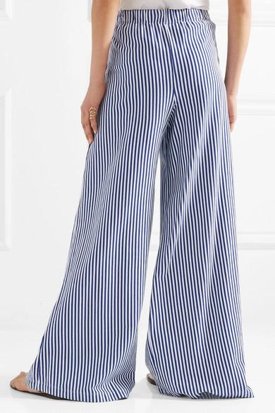 MDS Stripes Pia gestreifte Hose mit weitem Bein aus Baumwoll-Jersey