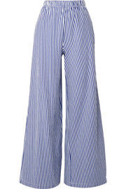 Pia striped cotton-jersey wide-leg pants