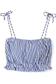 Taylor cropped striped cotton-jersey top