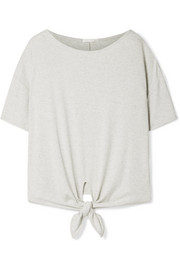 Nadene tie-front ribbed stretch Pima cotton and modal-blend T-shirt