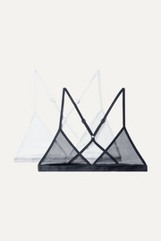 Skin Set of two cotton-tulle soft-cup triangle bras