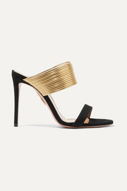 Aquazzura Rendez Vous leather and suede mules