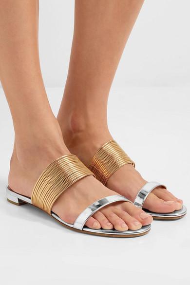 Aquazzura Rendez Vous Sandalen aus Metallic-Leder